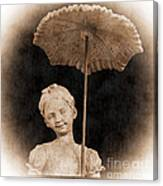 Little Girl With Umbrella Canvas Print