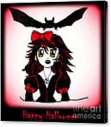 Little Goth Halloween Girl Canvas Print