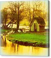 The Geese Have A Little House By The Flood Canvas Print