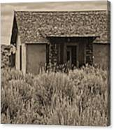 Little House In The Sage Bw Canvas Print