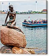 Little Mermaid Statue With Tourboat Canvas Print