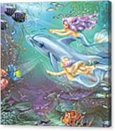 Little Mermaids And Dolphin Canvas Print