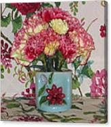 Little Old Vase And Carnations Canvas Print