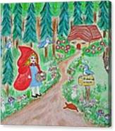 Little Red Riding Hood With Grandma's House On Mailbox Canvas Print