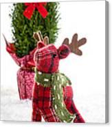 Little Reindeer Christmas Card Canvas Print