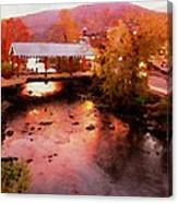 Little River Bridge At Sunset Gatlinburg Canvas Print