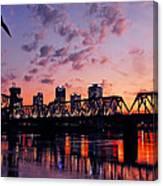 Little Rock Bridge Sunset Canvas Print
