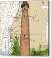 Little Sable Lighthouse Lake Mi Nautical Chart Map Art Cathy Peek Canvas Print
