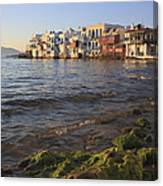 Little Venice At Sunset Mykonos Town Cyclades Greece  Canvas Print