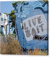 Live Bait Sign And Muffler Man Statue Canvas Print