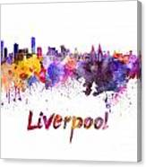 Liverpool Skyline In Watercolor Canvas Print