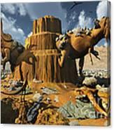 Living Fossils In A Desert Landscape Canvas Print