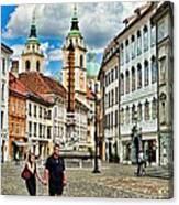 Ljubljana Town Square Canvas Print
