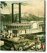 Loading Cotton On The Mississippi, 1870 Colour Litho Canvas Print