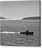 Lobster Boat And Islands Off Acadia National Park In Maine Canvas Print