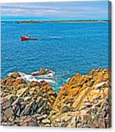 Lobster Boat Checking Traps In Louisbourg Bay-ns Canvas Print
