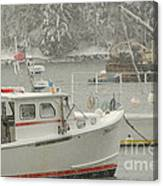 Snowy Lobster Boats Canvas Print