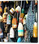 Lobster Buoys Fishermans Shed Canvas Print