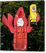 Lobster Catching Lobsterman Statue Canvas Print
