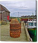 Lobster Fishing Baskets And Boats By A Dock In Forillon Np-qc Canvas Print