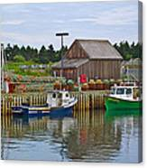 Lobster Fishing Baskets And Boats In Forillon Np-qc Canvas Print