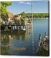 Lobster Traps On Pier In Round Pound On The Coast Of Maine Canvas Print