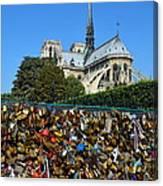 Locks Galore On The Pont De L'archeveche In Paris Canvas Print