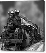 Locomotive 639 Type 2 8 2 Front And Side View Bw Canvas Print