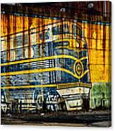 Locomotive On A Wall Canvas Print
