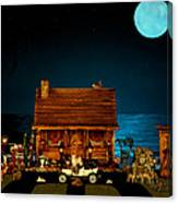 Log Cabin And Out House  Scene With Old Vintage Classic 1908 Model T Ford In Color Canvas Print