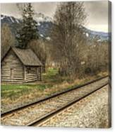 Log Cabin And Railroad Tracks Canvas Print