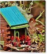 Log Cabin Birdhouse In Fall Canvas Print