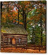Log Cabin In Autumn Color Canvas Print