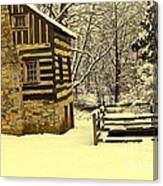 Log Cabin In The Snow Canvas Print
