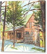 Log Cabin In The Woods Watercolor Portrait Canvas Print
