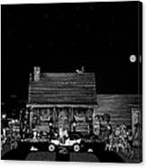Log Cabin Scene In Black And White With Old Time Classic 1908 Model T Ford Canvas Print