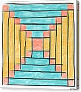 Log Cabin Variation - Retro Seafoam Canvas Print