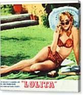 Lolita, Sue Lyon On Lobbycard, 1962 Canvas Print