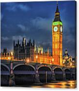 London - City Of Westminster And River Canvas Print