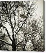 London Eye Through Snowy Trees Canvas Print