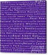London In Words Purple Canvas Print
