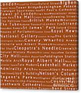 London In Words Toffee Canvas Print