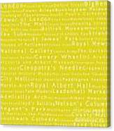 London In Words Yellow Canvas Print