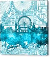 London Skyline Vintage Blue 2 Canvas Print