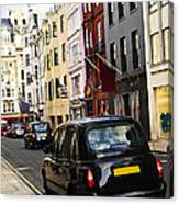 London Taxi On Shopping Street Canvas Print
