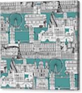 London Toile Blue Canvas Print
