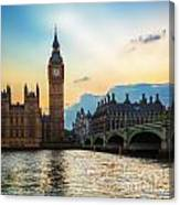 London Uk Big Ben The Palace Of Westminster At Sunset Canvas Print