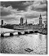 London Uk Big Ben The Palace Of Westminster In Black And White Canvas Print