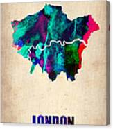 London Watercolor Map 2 Canvas Print