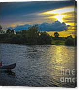 Lone Boat On The River Photo Canvas Print